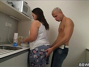 He thrusts his horny for cock into her pussy