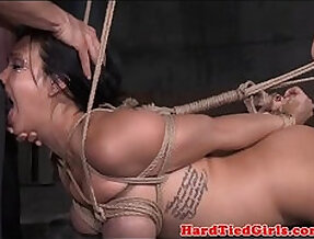 Restrained bdsm sub throated and toyed