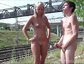 Young blonde ebony teen girl pounded by a PUBLIC railway by guys with two dicks