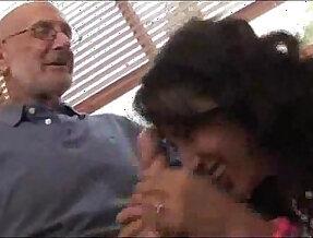 Amia Moretti with older men
