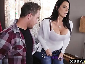 Stepmom with tits sucks fucks while dad is downstairs