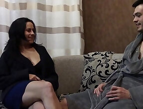 Stepmom helps stepson cum on her tits