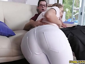 Step bro pounding Avery Adair doggystyle in the couch