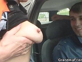 Slutty granny takes cocks in the fields