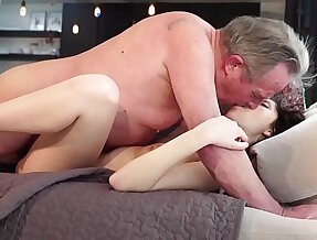 Old and Young girlfriend getting anal fucked by grandpa