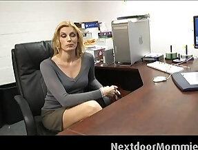 Cougar secretary swallows black big cock cum