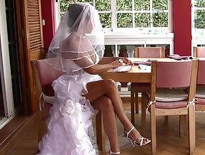 Naughty bride masturbating her snatch